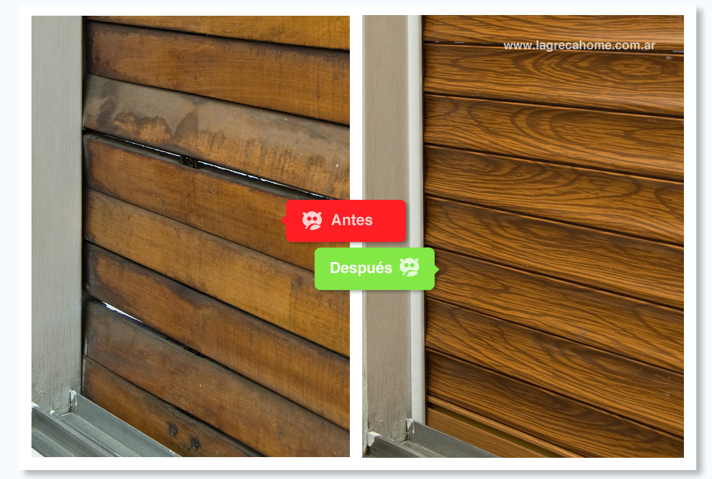 LGH / Las persianas de aluminio imitan el acabado madera a la perfección.