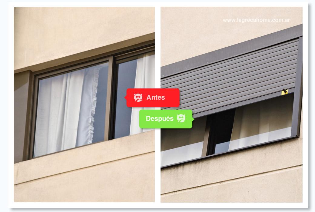 LGH / Recambio / Cajón exterior con persiana de aluminio térmica, color bronce.