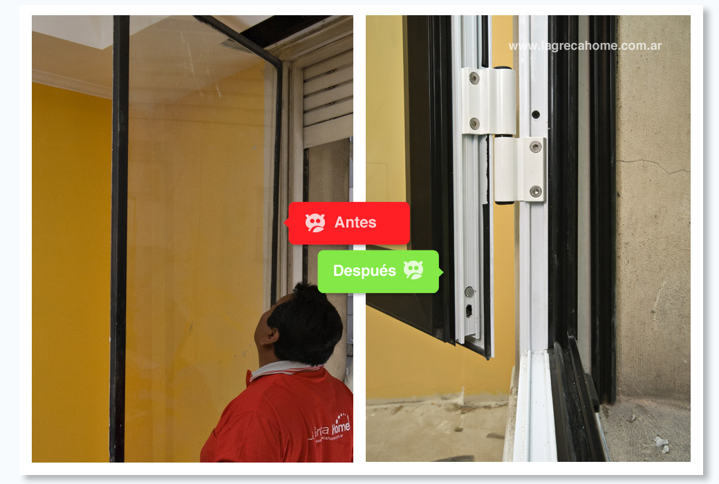 LGH / Renovación / Detalle apertura ventana bi-color