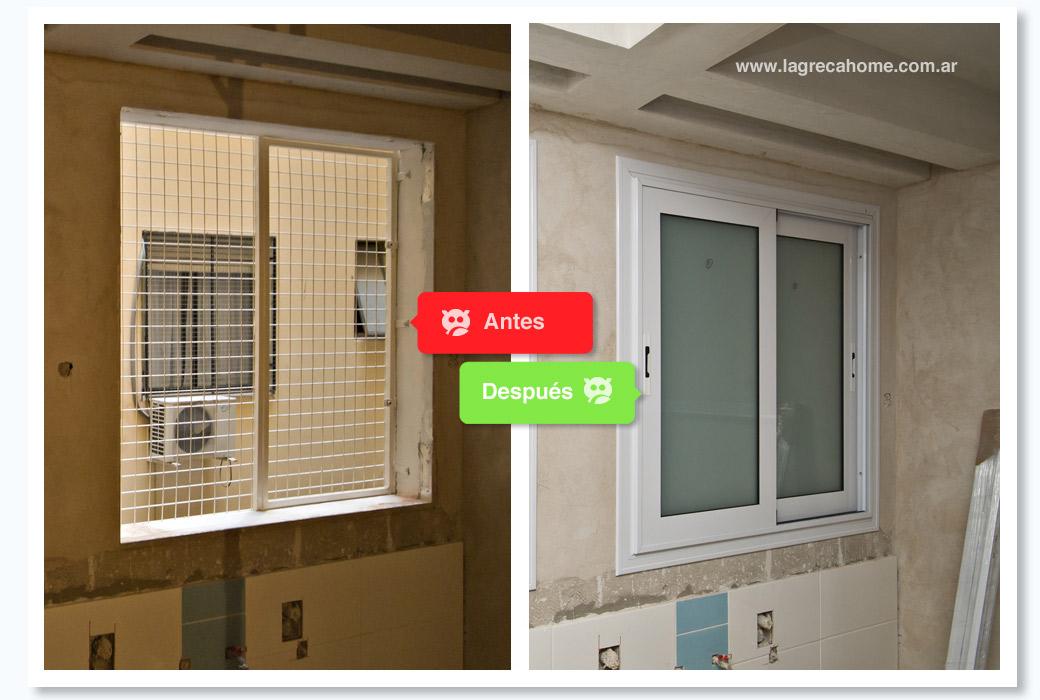 LGH / Renovación / Cocina / Ventanas corredizas con vidrio esmerilado
