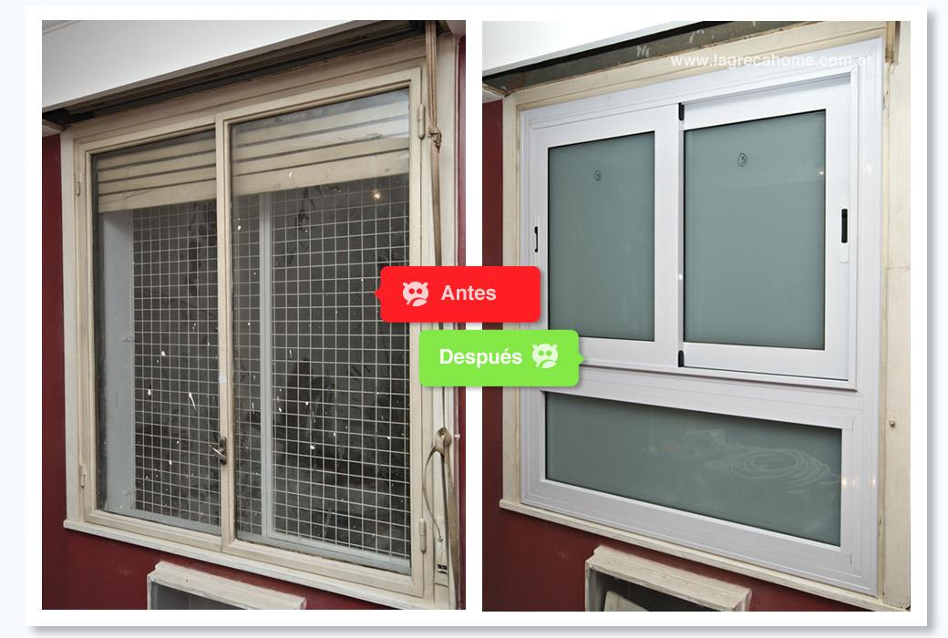 LGH / Renovación / Habitación 1 / Ventana corrediza con paño fijo inferior y vidrios esmerilados